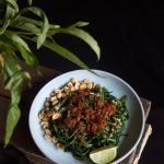 Lombok plecing kangkung (Water spinach with sambal)