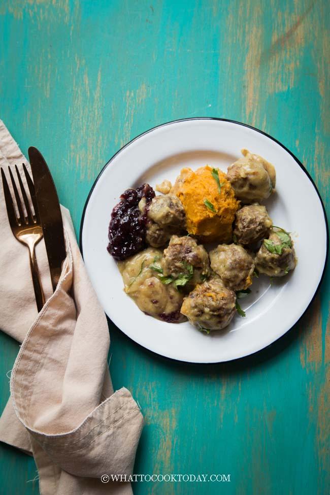 Homemade Swedish Meatballs with Sweet Potato Mash (Dairy-Free)