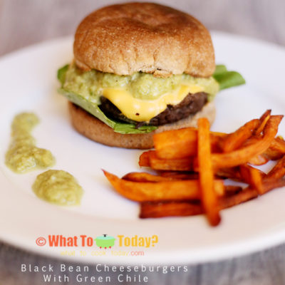 BLACK BEAN CHEESEBURGERS WITH GREEN CHILE
