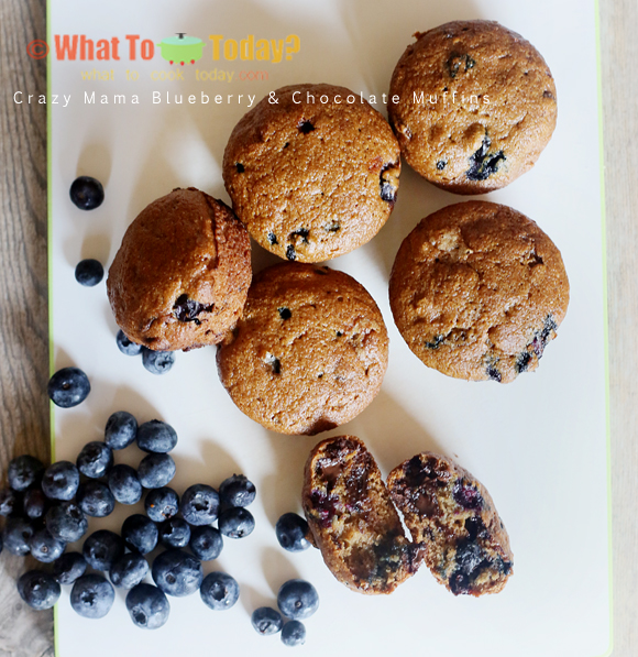 CRAZY MAMA BLUEBERRY AND CHOCOLATE MUFFINS