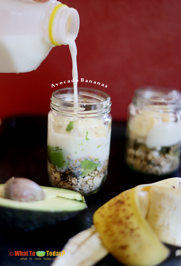 Refrigerated raw oatmeal (overnight oats). Creamy and convinient for healthy nutritious breakfast