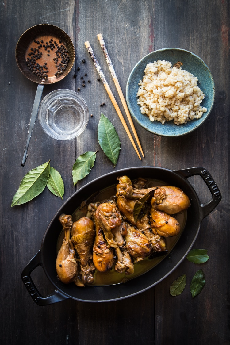 Chicken Adobo (Vinegar-braised Chicken). Chicken is braised in cane vinegar. It's a super easy and delicious one-pot meal
