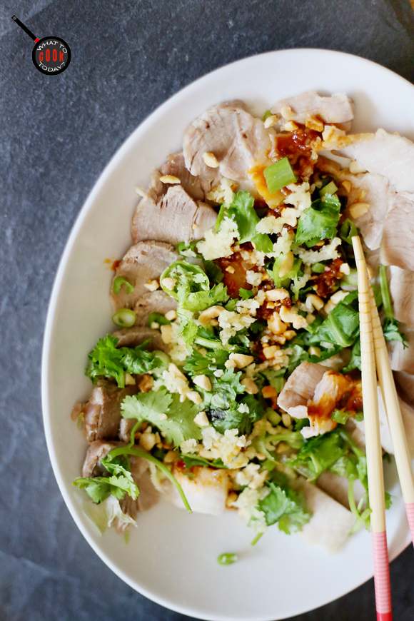 POACHED PORK BELLY WITH SPICY GARLIC SAUCE