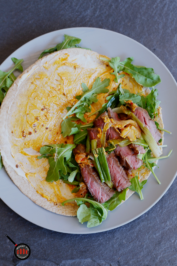 Spicy surf and turf taco with kimchi