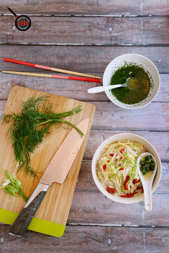 CHICKEN NOODLE SOUP WITH BAMBOO SHOOTS AND DILL LIME SAUCE