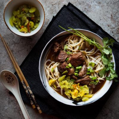 Taiwanese beef noodle soup (Niu Rou Mien)