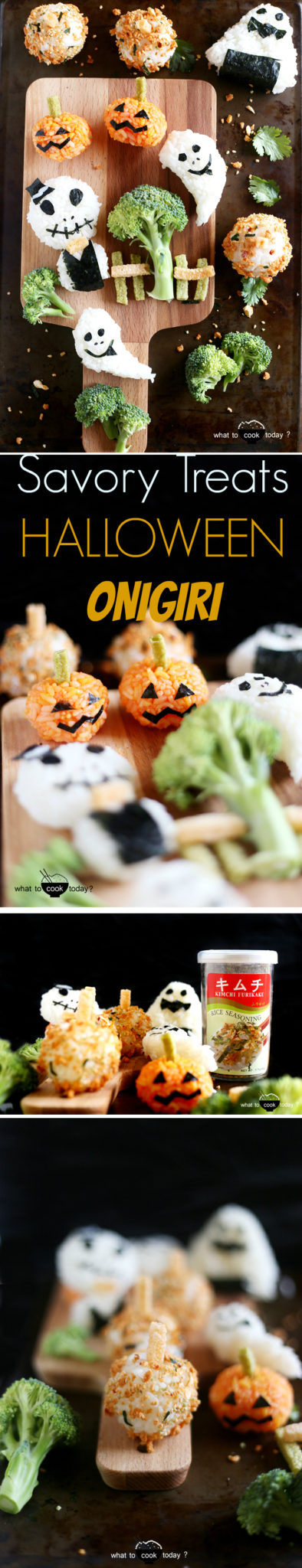 Onigiri for Halloween. Made with rice, Nori seaweed, Veggie straws, etc. Kids will have fun without extra sweets. They have enough sweets in their buckets ;)