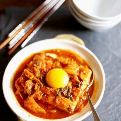 Korean soft tofu with kimchi stew (Soondubu Jjigae)