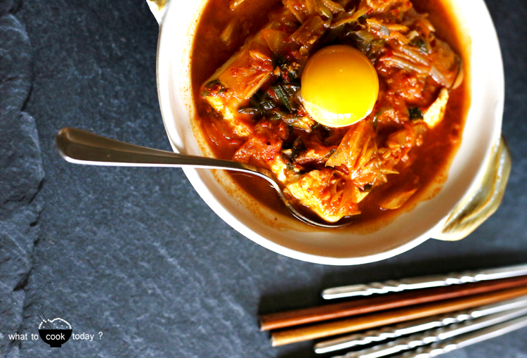 Korean soft tofu with kimchi stew (Soondubu Jjigae)