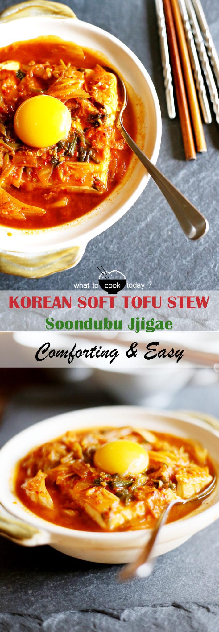 Korean soft tofu with kimchi stew (Soondubu Jjigae).