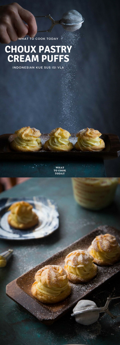 Kue Sus Isi Vla (Choux Pastry Cream Puffs) - Light and airy French choux pastry cream puffs are filled with smooth and soft custard cream.