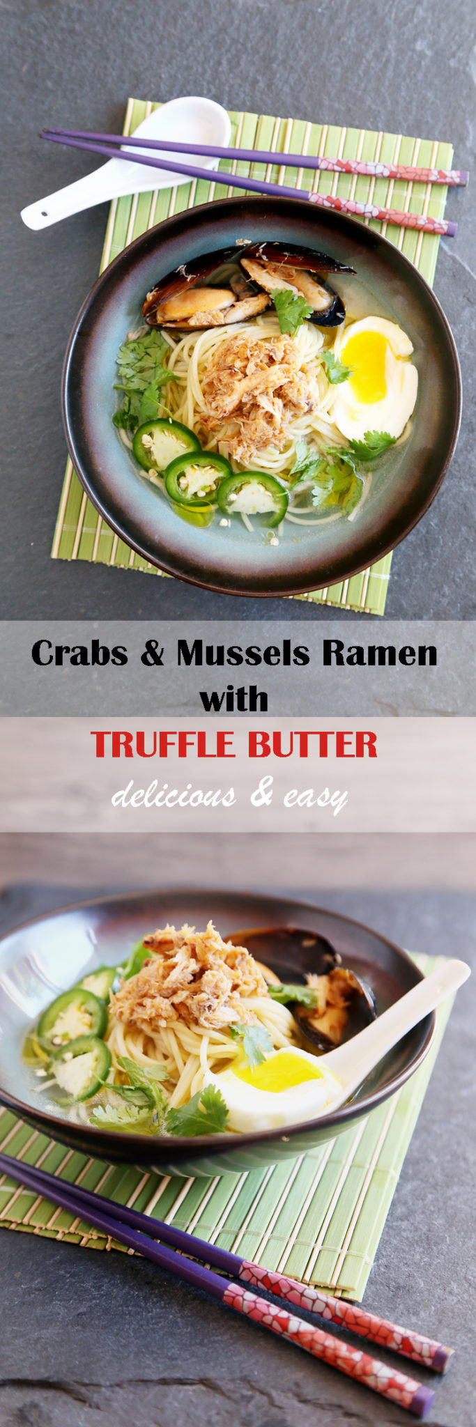 Delicious and easy crabs and mussels ramen with truffle butter