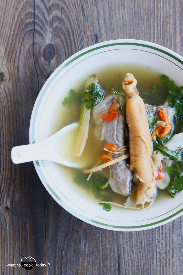 Pork ribs soup with ginseng