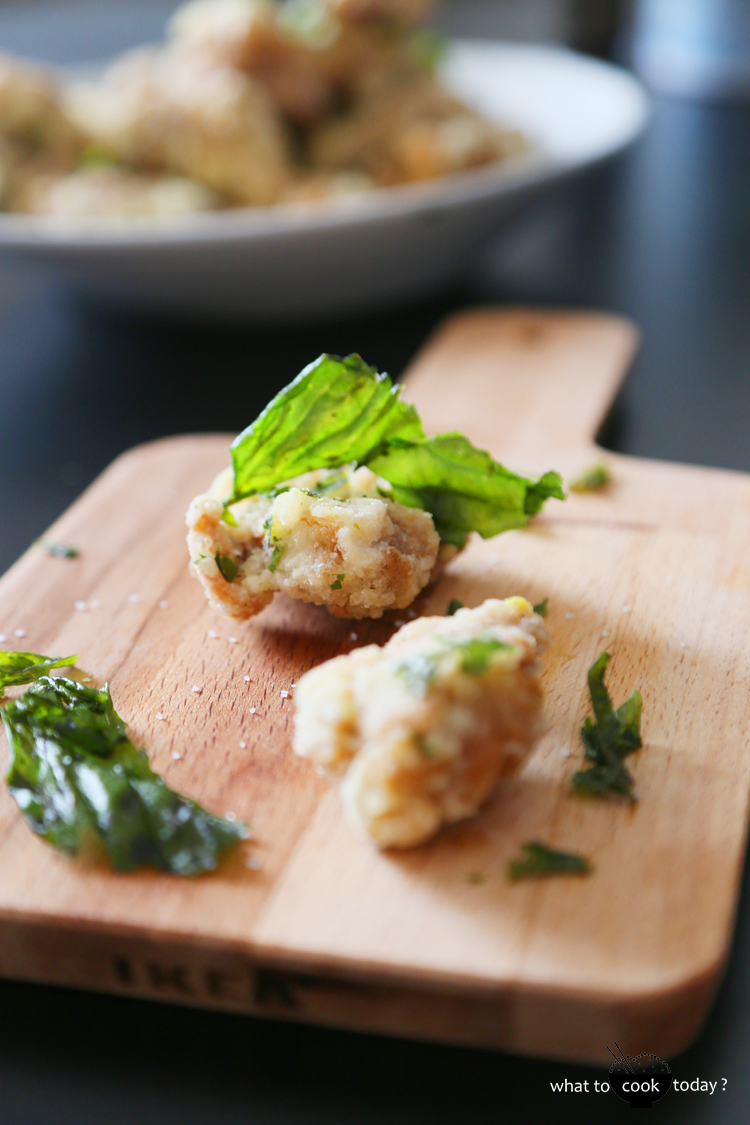Salt and pepper chicken with crunchy basil