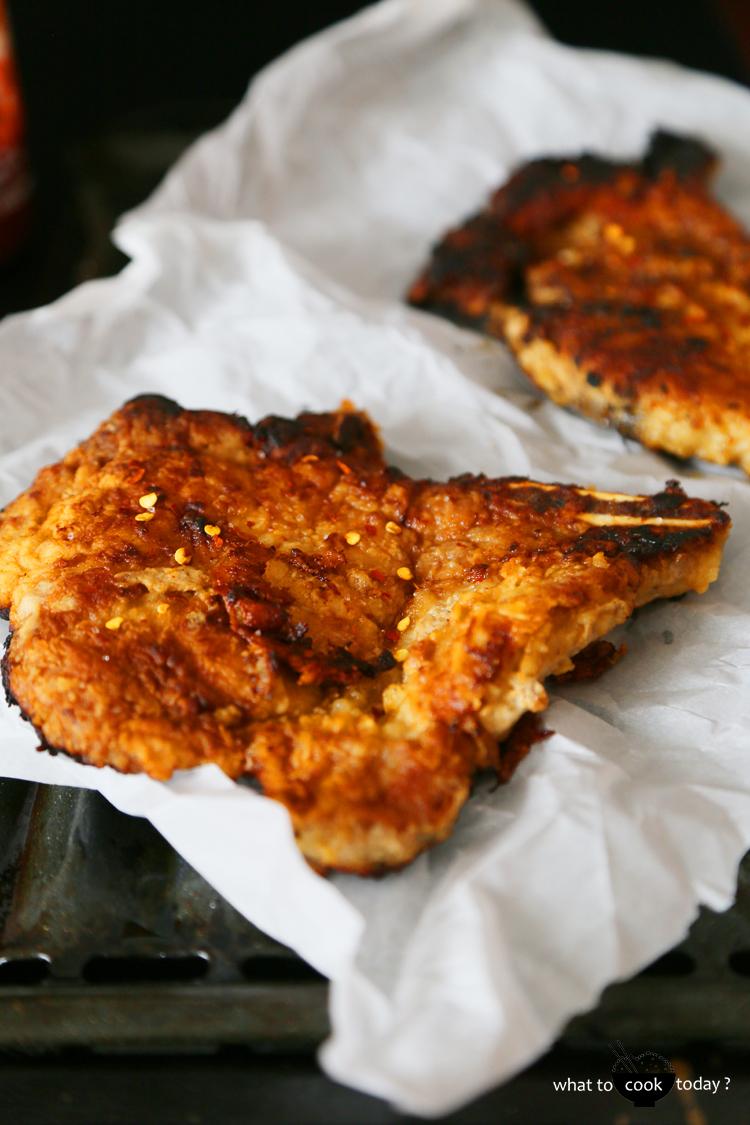Gochujang pork chops with pineapple buns
