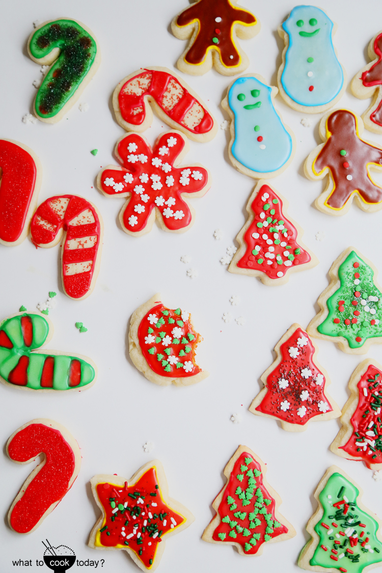 Christmas cookies with rose water icing
