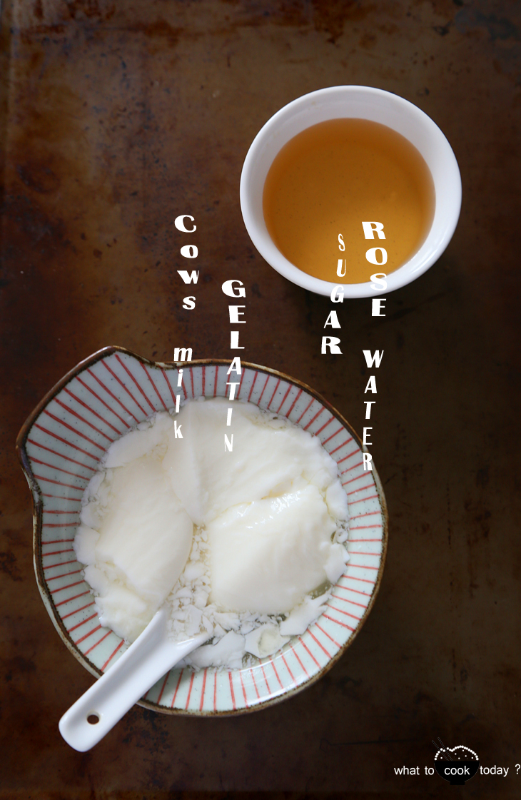 Silken milk curd with rose water syrup. cow's milk/soy milk cooked with unflavored gelatin to give you the smooth and soft curd. Serve with rose water infused syrup. So..so delicious and so easy to make.