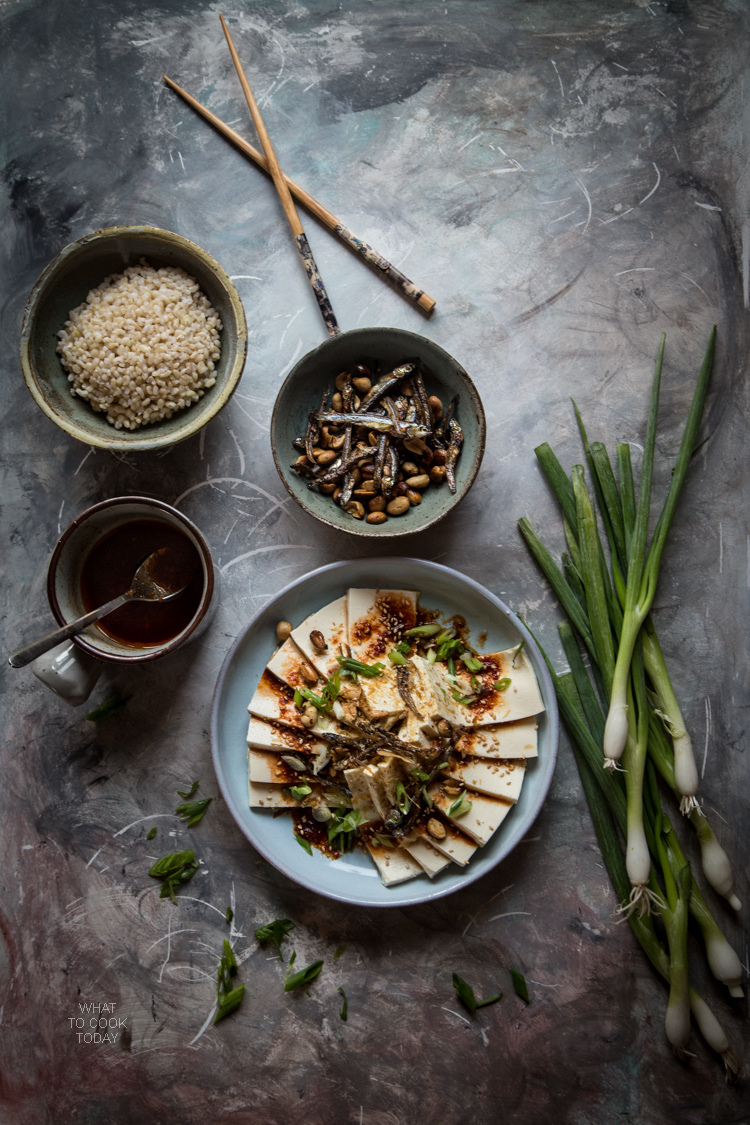 Silken tofu with fried anchovies and peanuts