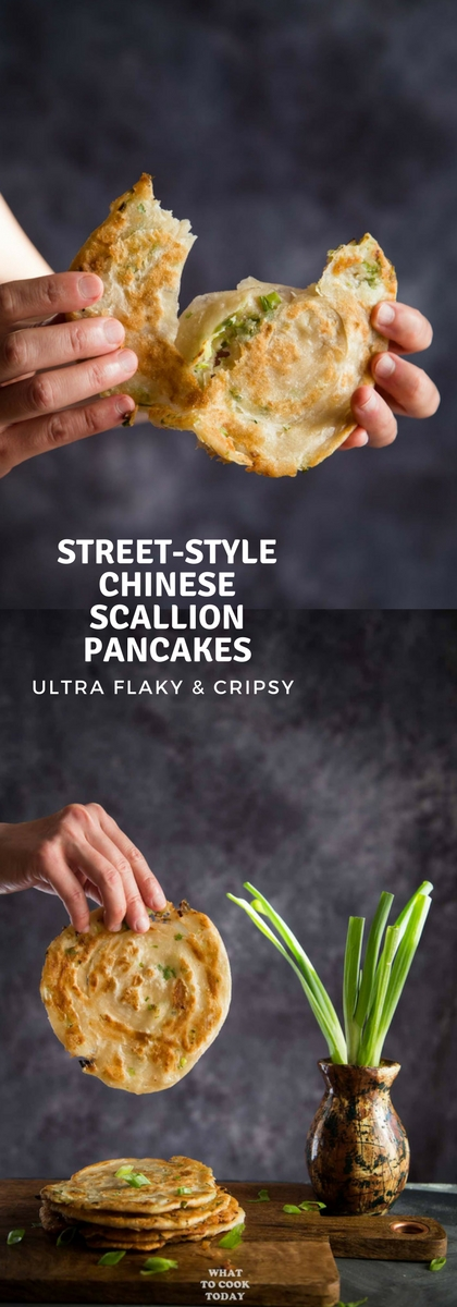 Street-style Chinese Scallion Pancakes (Cong You Bing)- Learn how to make easy flaky Chinese scallion pancakes without much fuss. This recipe gives you ultra-flaky and crispy result that you will find irresistible.