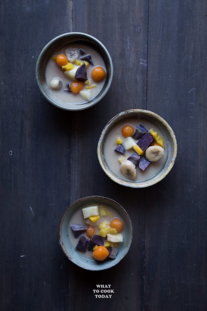 Kolak Ubi Pisang (Sweet potatoes, cassava, ube, and banana in coconut milk dessert)
