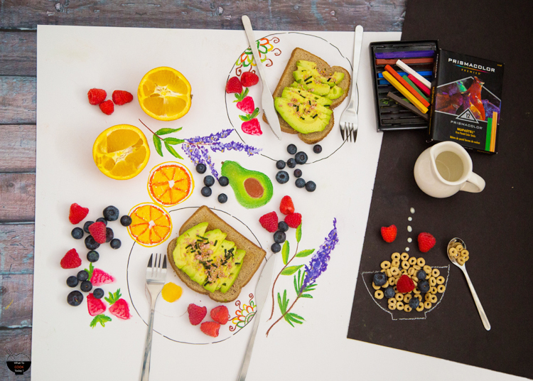 """Color your breakfast and eat it too. It's fun to combine illustration with real food objects. I love the """"surreal"""" effect they give. #relaxandcolor #coloringwithMichaels #Pmedia #ad @MichaelsStores"""
