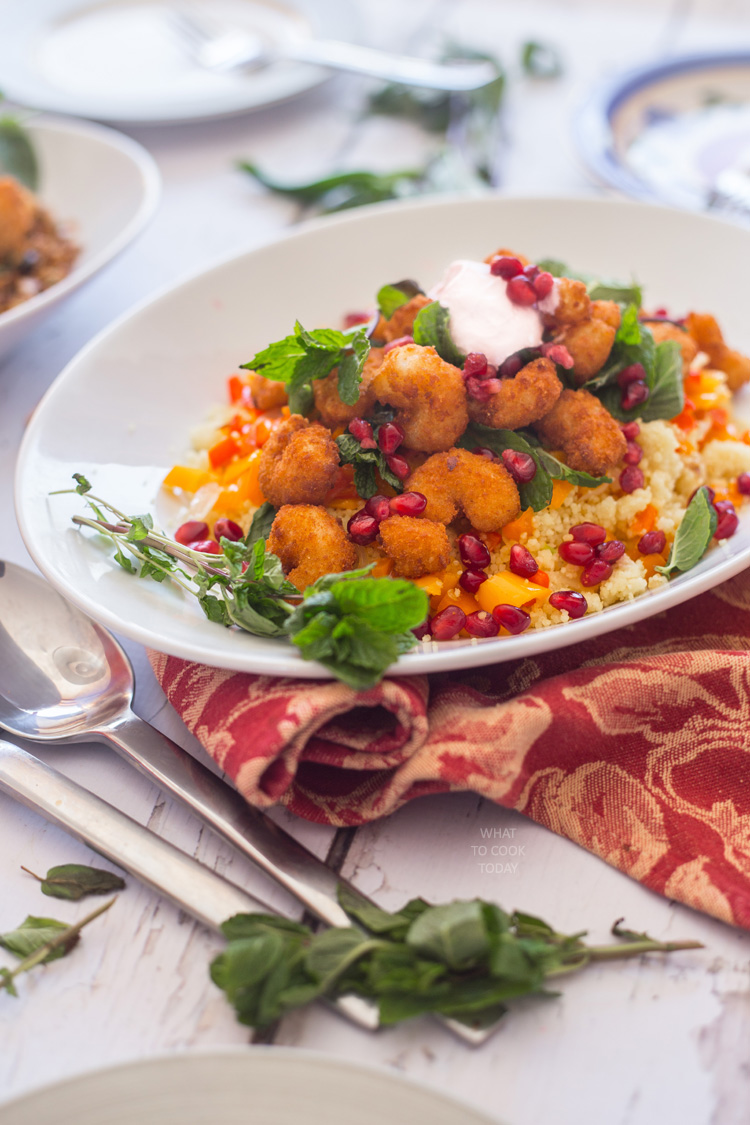 Couscous with shrimps and pomegranate #ShrimpItUp #ad