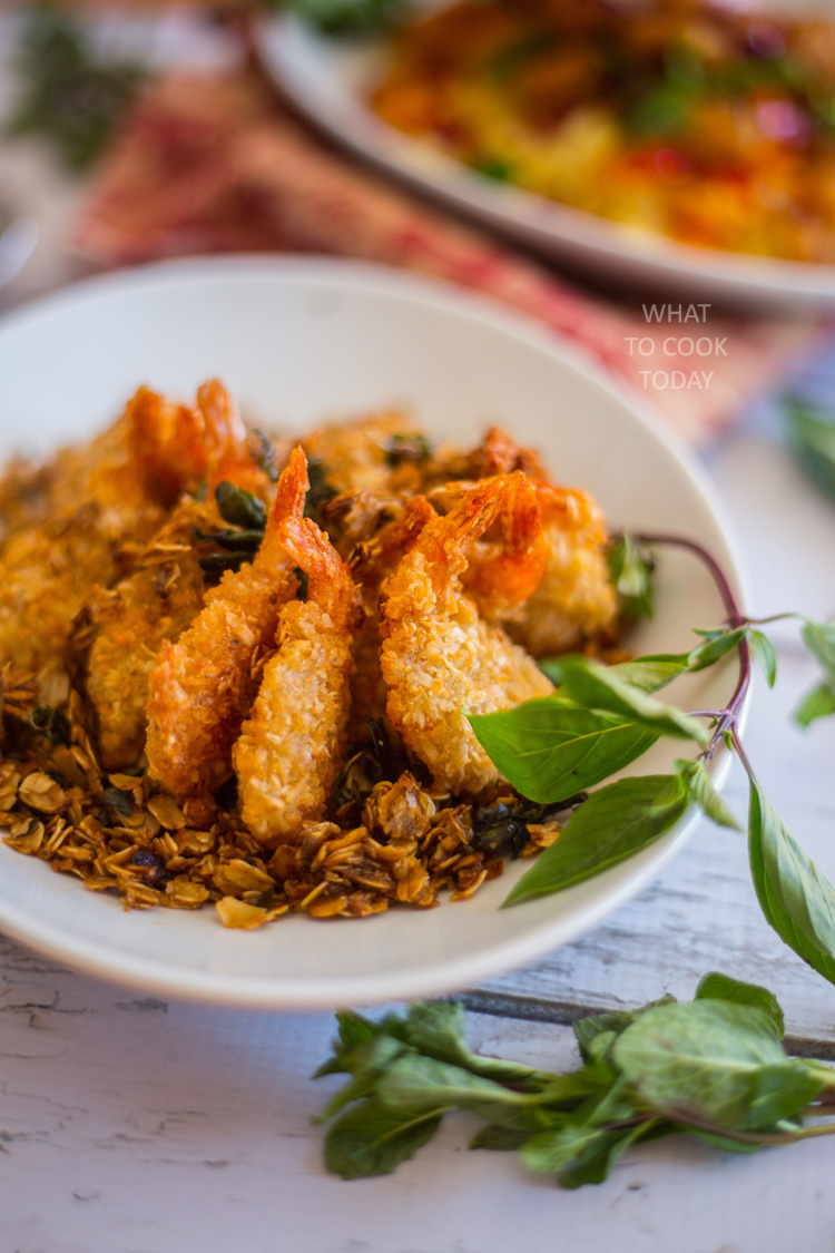 Coconut shrimp with buttery oats and basil #ShrimpItUp #ad
