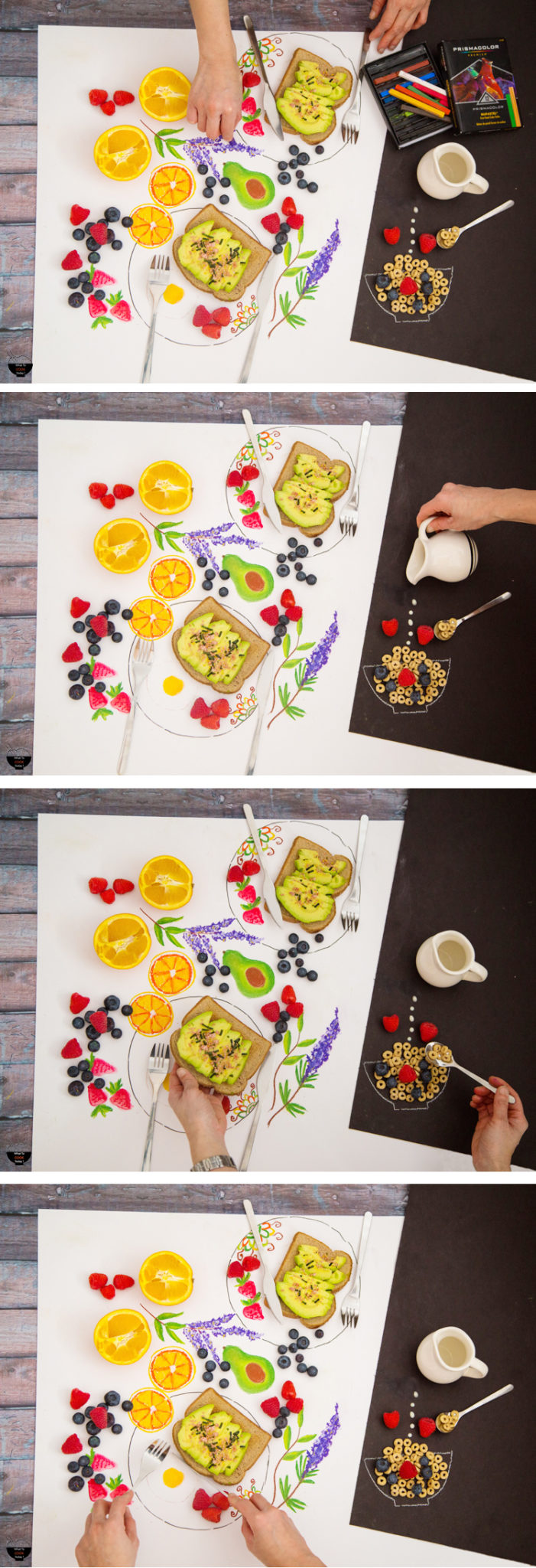 "Color your breakfast and eat it too. It's fun to combine illustration with real food objects. I love the ""surreal"" effect they give. #relaxandcolor #coloringwithMichaels #Pmedia #ad @MichaelsStores"