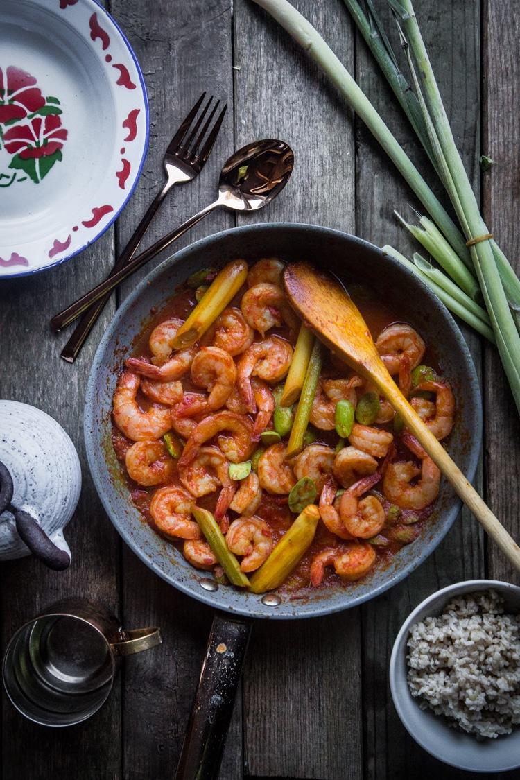 Shrimp with lemongrass (Sambal udang serai)