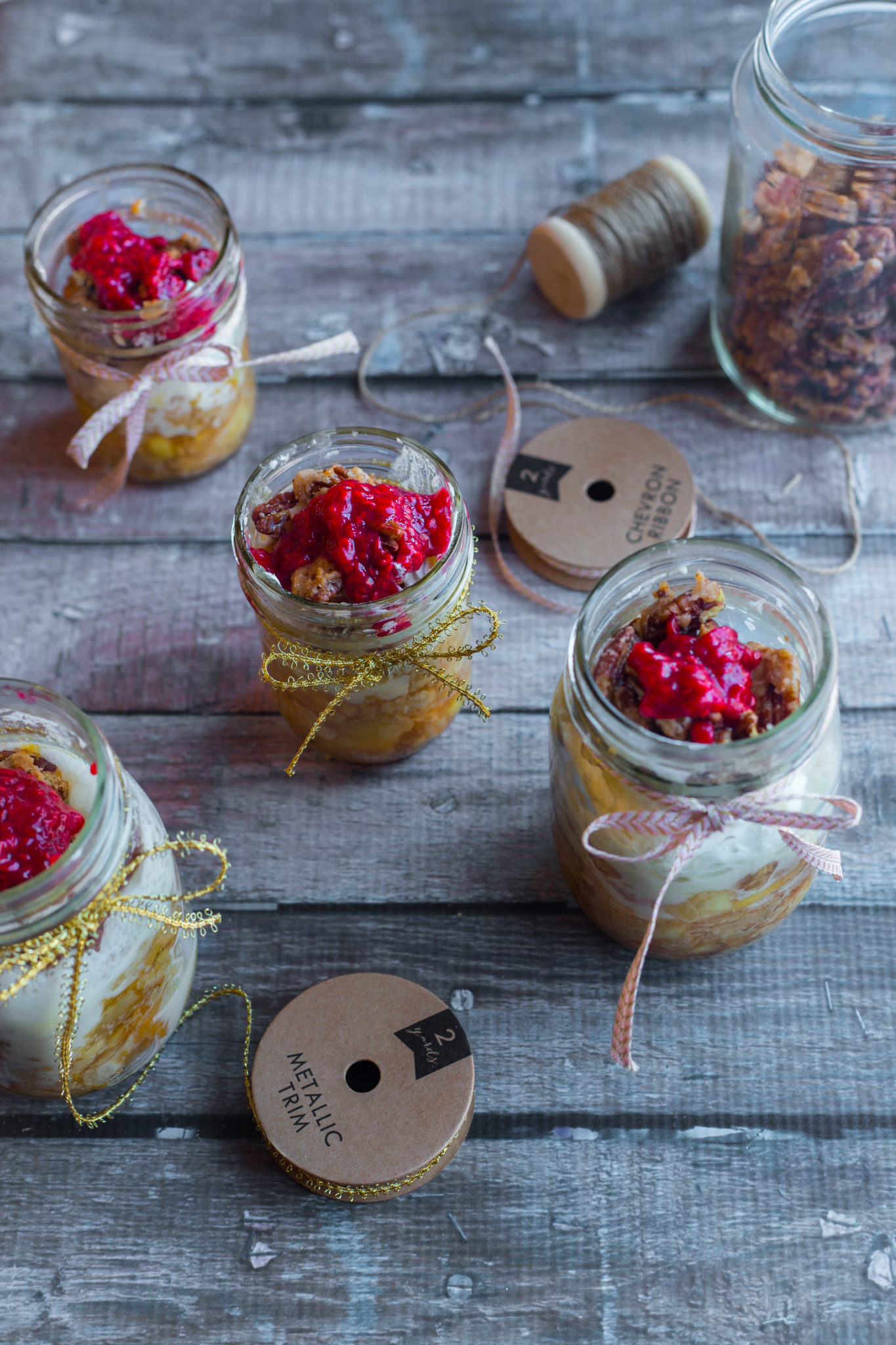 Apple pie with pecans and raspberry sauce in a jar #EasterMadeEasy [ad]