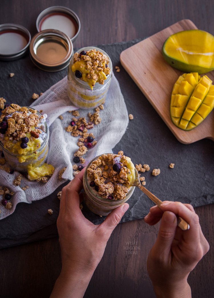 Rice chia pudding with coconut mango sauce and super grains topping #GranolaMyWay #ad