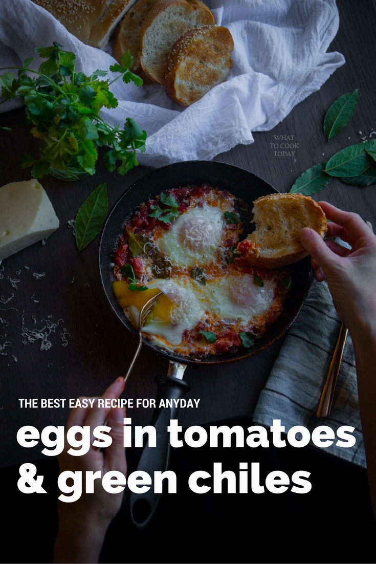 Eggs in tomatoes and green chilies. Easy one pan recipe for weeknights