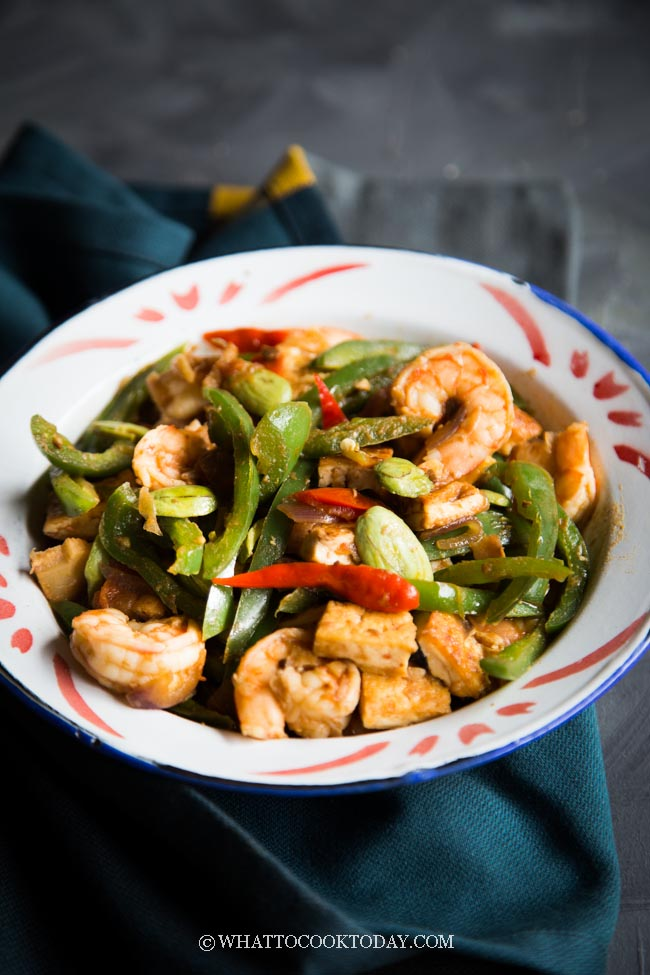 Sambal Tauco Udang Cabe Ijo (Shrimp with Bean Paste and Green Chili)