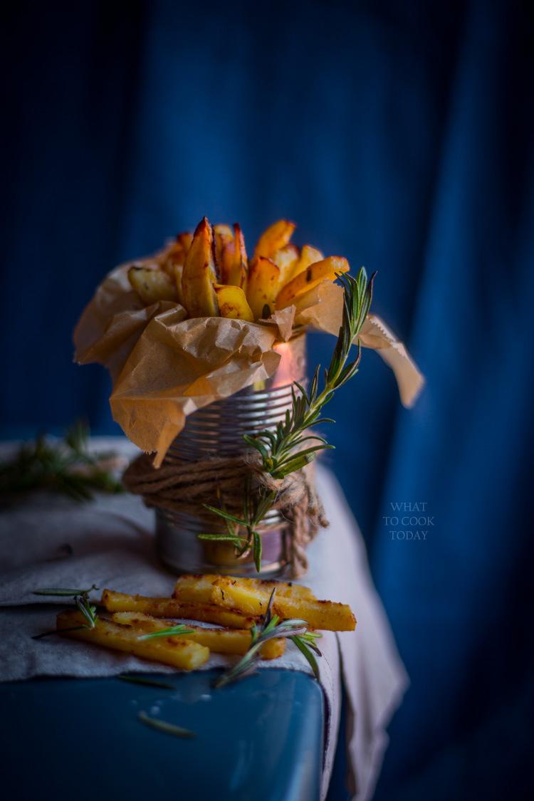 Crispy miso rosemary oven fries