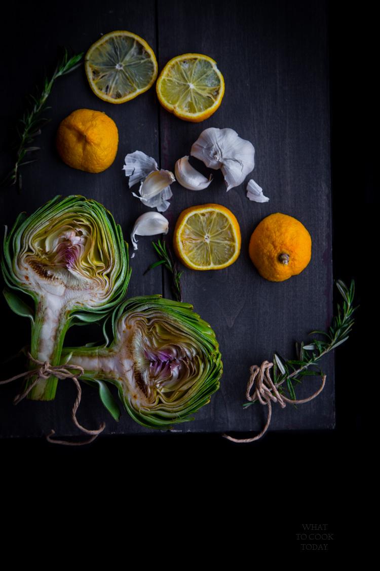 How to make roasted whole artichoke and garlic