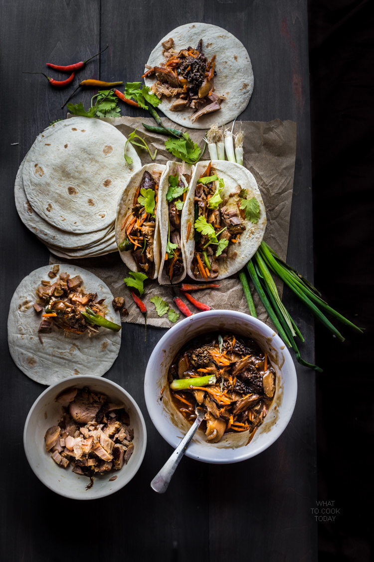Slow-cooked miso pulled pork and mushroom medleys taco #tacotuesday