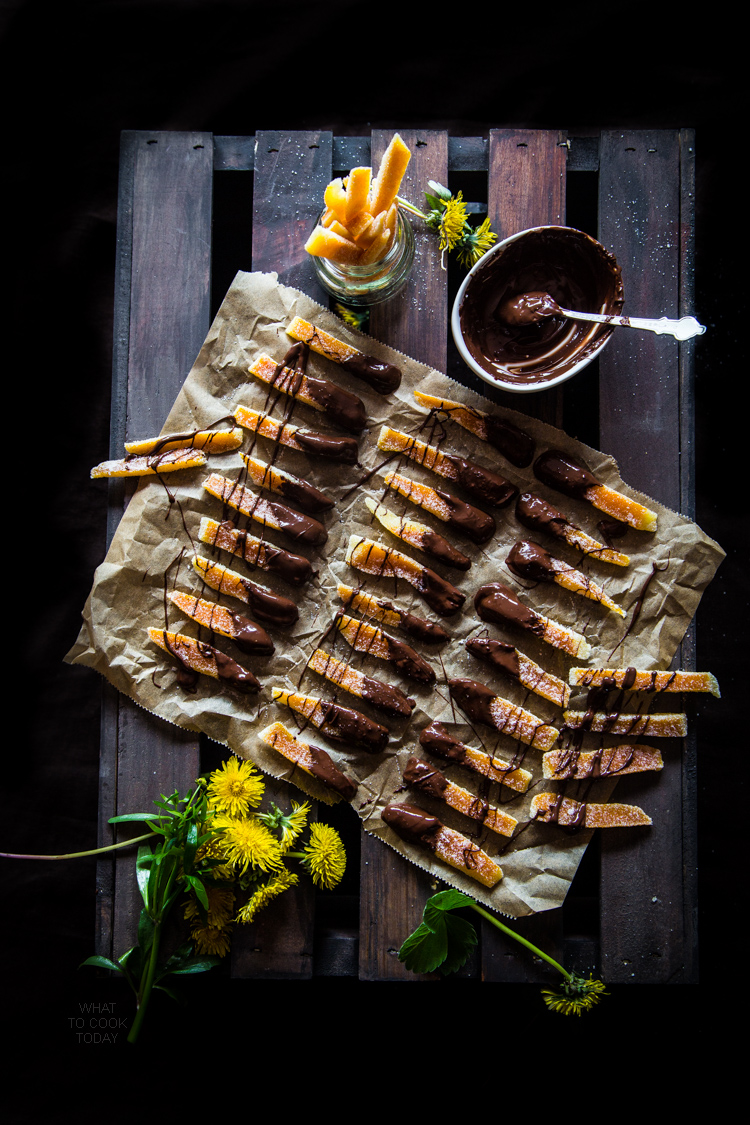 Orangettes (Chocolate-dipped candied orange strips)