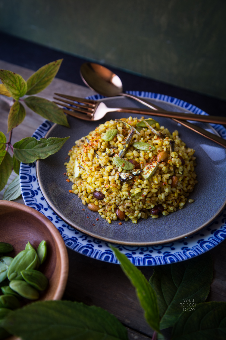 Nasi Goreng Pete/Petai (Stink bean fried rice) .Popular Indonesian street food