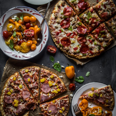 Movie night with pizza and roasted tomato, sweet pepper and feta salad