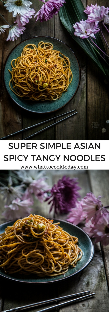 How to make Super simple spicy and tangy noodles. Delicious easy one-pan Asian noodle recipe that takes you less than 20 minutes from start to finish. Click through for full recipe and step by step instructions