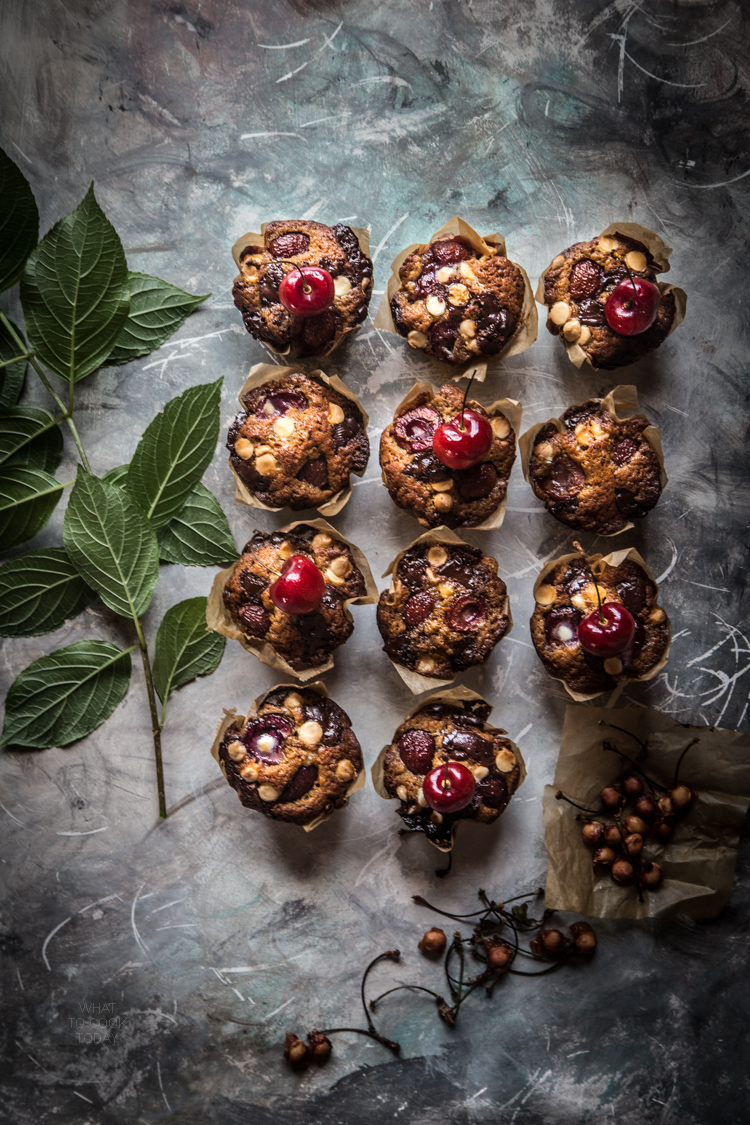 Double chocolate cherry coconut sugar muffins