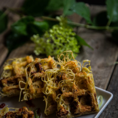 Pasta, bacon and eggs waffles