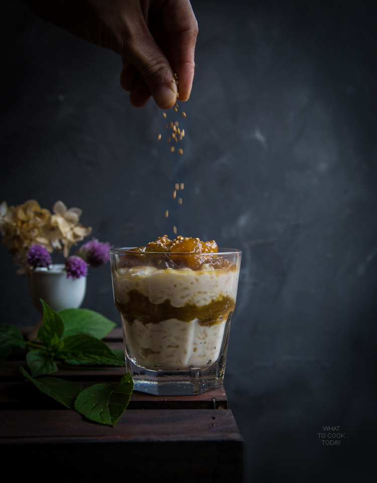 Creamy coconut rice pudding with rhubarb compote