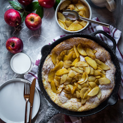 Dutch baby pancakes with Sauteed Apples