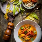 Roasted pumpkin and chickpeas soup