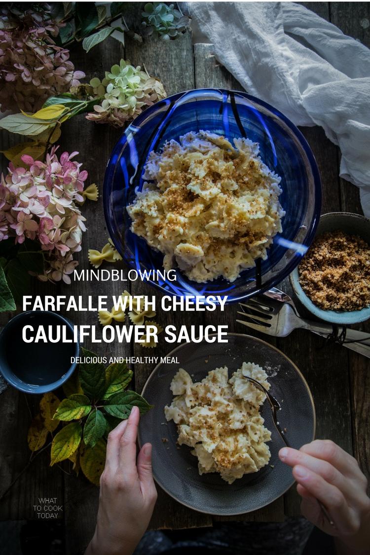 Farfalle with cheesy cauli sauce. So good you won't believe the sauce is made of cauliflower