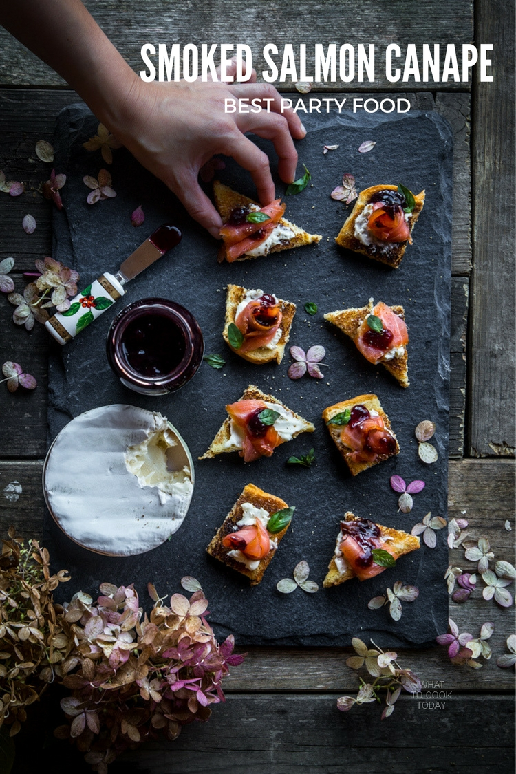 What To Cook Today: Smoked salmon canapé. Easy delicious party food #ad #EasyHolidayEats
