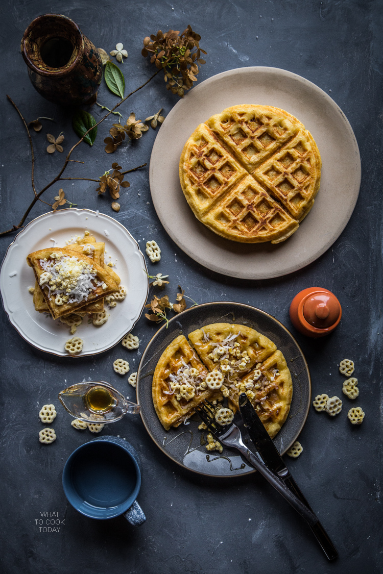 Coconut cereal Belgian waffles. Easy delicious Belgian waffles with honey comb cereal #SingWithPost #CerealAnytime #ad