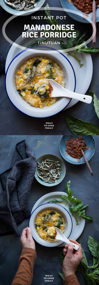 Bubur Manado Tinutuan (Manadonese porridge) - Tinutuan is popular breakfast food in the city of Manado, North Sulawesi. Loaded with tubers, vegetables and served with delicious Indonesian toppings. Gluten-free, vegan, dairy free. Instant pot recipe is included