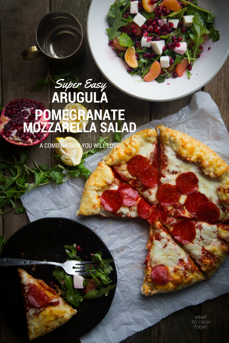 Super easy arugula pomegranate and mozzarella salad #FreschettaFresh #ad